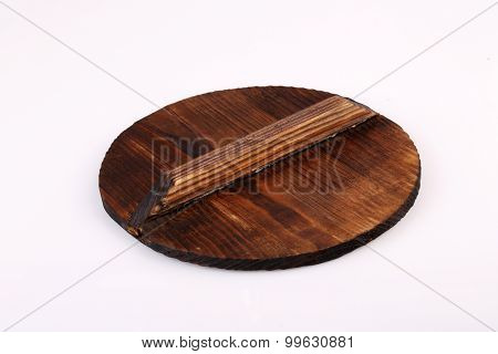 Old Wooden Lid Isolated On White Background