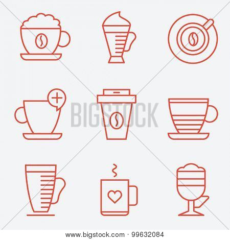 Set of coffee cups, flat design, thin line style