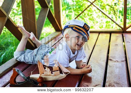 boy captain smile joy cute fun laughing