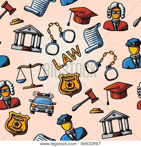 Seamless law handdrawn pattern with- scales, hammer, court house, judge, police badge, handcuffs, la
