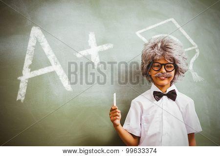 A plus grade against boy dressed as senior teacher in front of blackboard