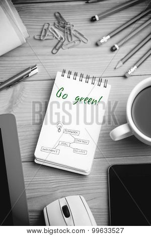 The word go green! and business concept vector against notepad on desk