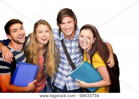 Students holding folders at college corridor against white background with vignette