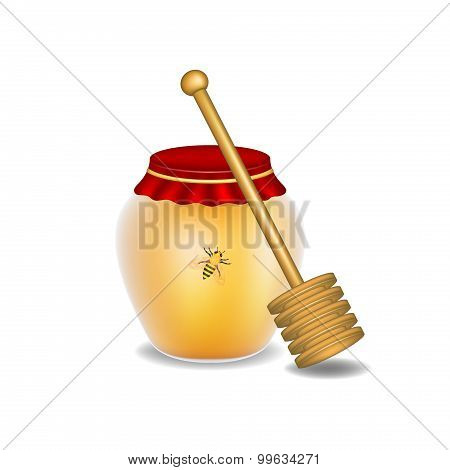 Sweet honey, honey bee and wooden honey dipper