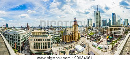 Aerial View Of Frankfurt With Hauptwachen, Germany In A Summer Day