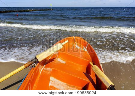 Prow Of Rescue Boat On The Sea Shore