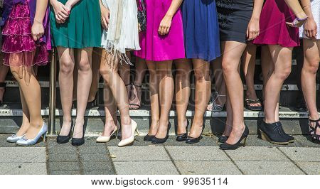 Legs Of Girls Posing For Final Ceremony At School