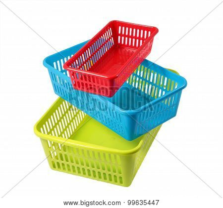 Colored Boxes Of Different Sizes, Baskets For Storage, Three Containers.