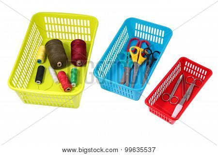 Home Storage System, Colored Plastic Perforated Boxes With Household Tools.