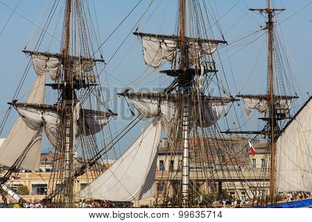 BORDEAUX, FRANCE, AUGUST 20, 2015 : close view of  The frigate L 'Hermione in the port of Bordeaux in France, this is a copy of the historical ship used by Lafayette when he sailed to America in 1780.