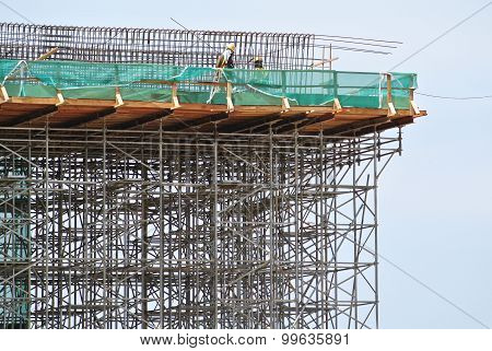 Scaffolding used to support a platform for construction workers to work