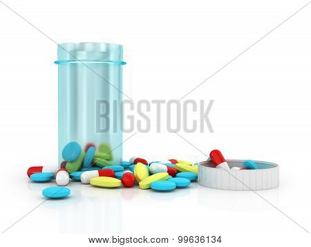 Blue Translucent Plastic Jar With Lid Removed From Colorful Pills On A White Background.