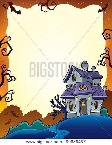 Halloween frame with haunted house - eps10 vector illustration.