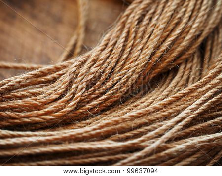 Close up of leather stitching string or thread.