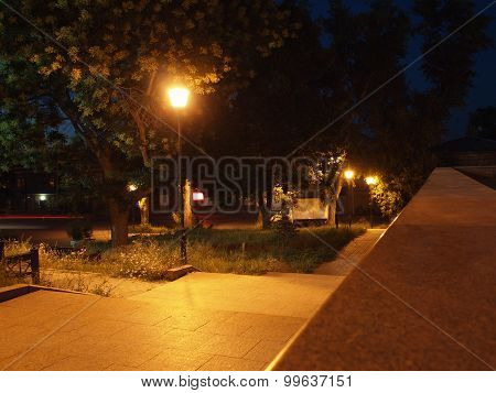 Bright Street Lights And Staircase Of Granite