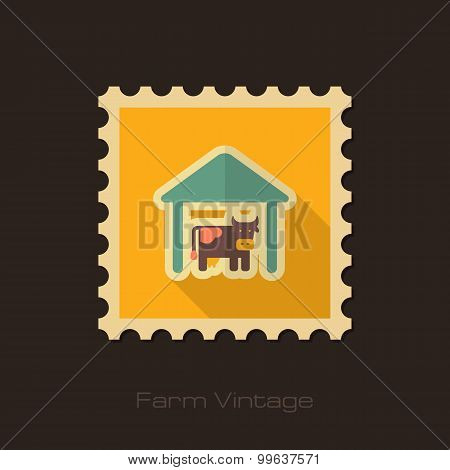 Cowshed Retro Flat Stamp With Long Shadow