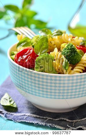 Fusilli With Cherry Tomatoes And Broccoli.