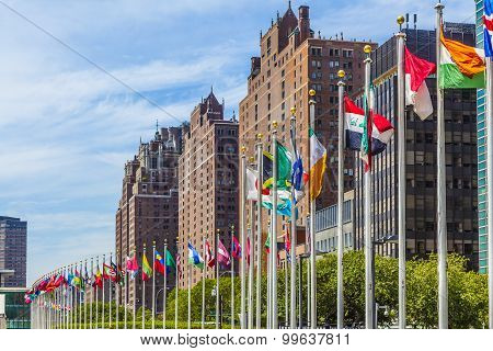 United Nations Headquarters With Flags Of Members Of The Un