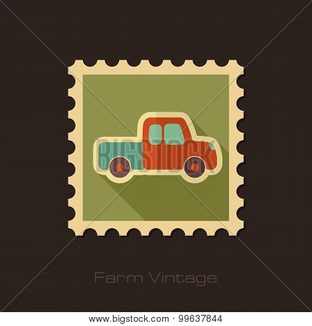 Pickup Truck Retro Flat Stamp With Long Shadow