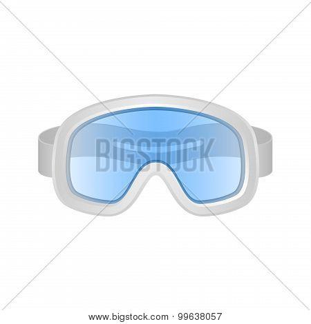 Ski sport goggles in white and blue design