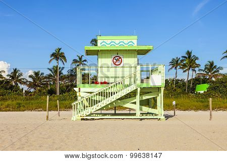 Wooden Bay Watch Hut At The Beach
