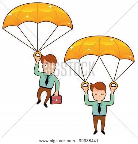 Smiling man fall on a golden parachute with briefcase