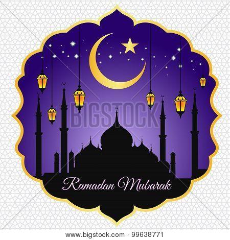 Ramadan mubarak - moon star lantern and masjid on violet vector background