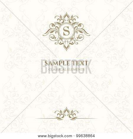 Template Classic Cards With Monogram.