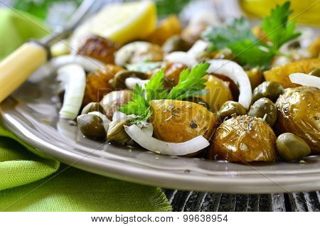 Young Potato Salad With Capers And Marinated Onion.