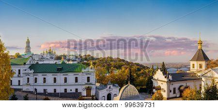 Panorama Of Kiev-pechersk Lavra Autumn Evening