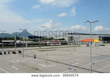 HONG KONG - JUNE 04, 2015: area near AsiaWorld-Expo. The AsiaWorld Expo is one of the two major convention and exhibition facilities in Hong Kong