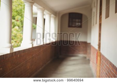 Passageway at an elementary school with pillars