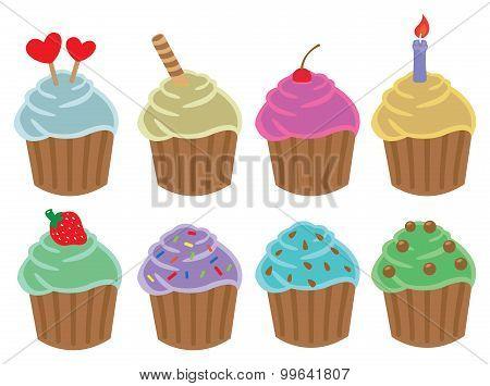 Cupcakes Cartoon Vector Illustration
