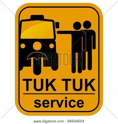 Vector black tuk tuk service icons set.