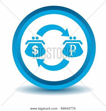 Dollar-rouble trade icon, blue, 3D