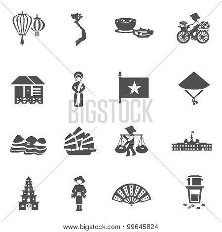 Vietnamese Black White Icons Set