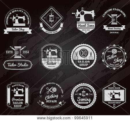 Tailor shop chalkboard labels icons set