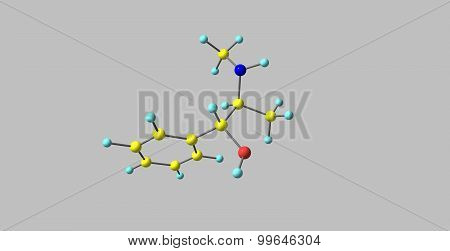 Ephedrine molecule isolated on grey