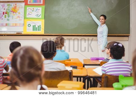 Teacher teaching a lesson in class at the elementary school