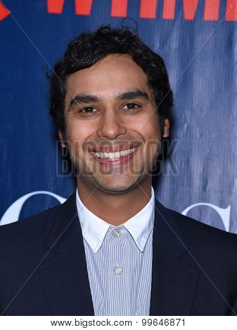 LOS ANGELES - AUG 10:  Kunal Nayyar arrives to the Summer 2015 TCA's - CBS, The CW & Showtime  on August 10, 2015 in West Hollywood, CA