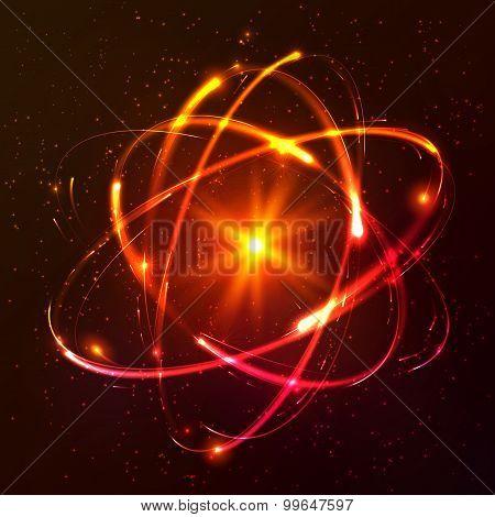 Red shining cosmic vector atom model