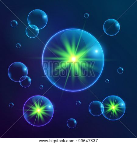 Blue shining cosmic bubbles with green lights