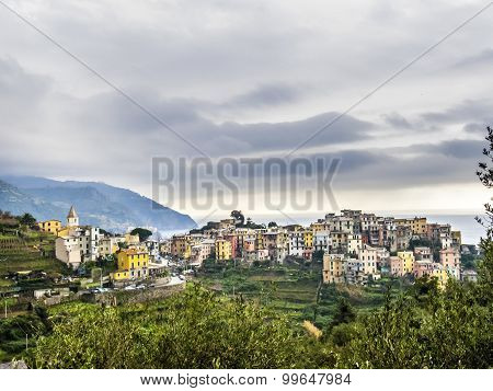 Typical Old Village In The Levante, Italy Under Cloudy Sky