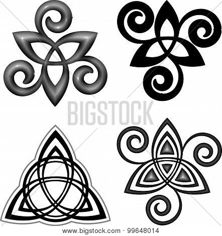 Vector celtic triskel symbols set