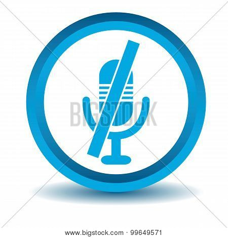 Muted microphone icon, blue, 3D