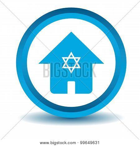 Jewish house icon, blue, 3D