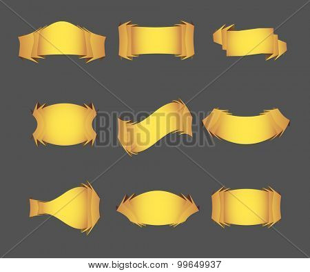 Set of golden vector ribbons for your text