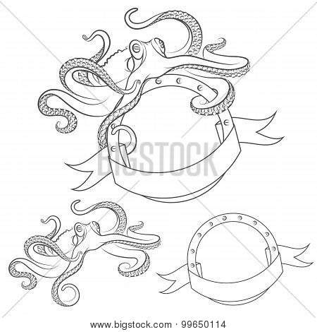 Set of vector images with octopus. Isolated objects on a white background.