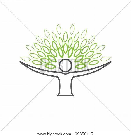 People Embracing Tree - Eco Lifestyle Concept Vector