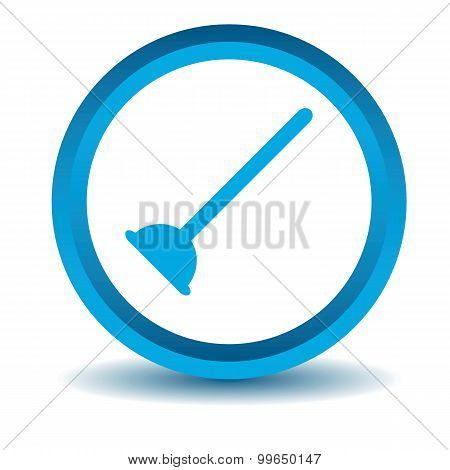 Plunger icon, blue, 3D